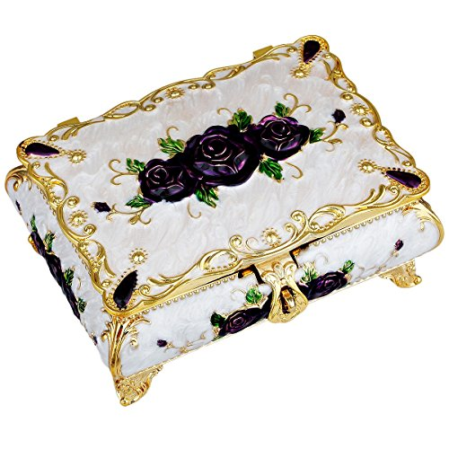SUNYIK Vintage Enameled Rectangular Decorative Collectible Jewelry Trinket Box for Women,White with Purple Rose (Enameled Flower Necklace Earrings)