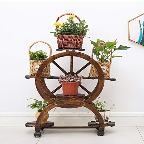 60cmx34cmx85cm Plant Stand GT.S Solid Wood Multi-Layer Anti-Corrosion Flower Stand Indoor Balcony Space Movable Creative Flower Stand Size