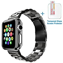 Apple Watch Band, Eoso Solid Stainless Steel Metal Apple Watch Strap with Durable Folding Clasp for iWatch(Stainless Steel Black,42mm)