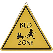 Juvale Kid Zone Sign - Metal Kids Zone Triangle Tin Sign, Traffic Warning Sign also Perfect for Party and Interior Decor, 13.5 x 11.8 Inches