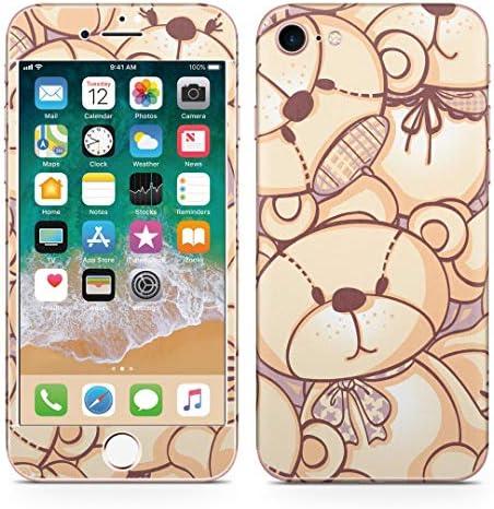 igsticker iPhone SE 2020 iPhone8 iPhone7 専用 スキンシール 全面スキンシール フル 背面 側面 正面 液晶 ステッカー 保護シール 005714 アニマル 熊 テディベア 模様