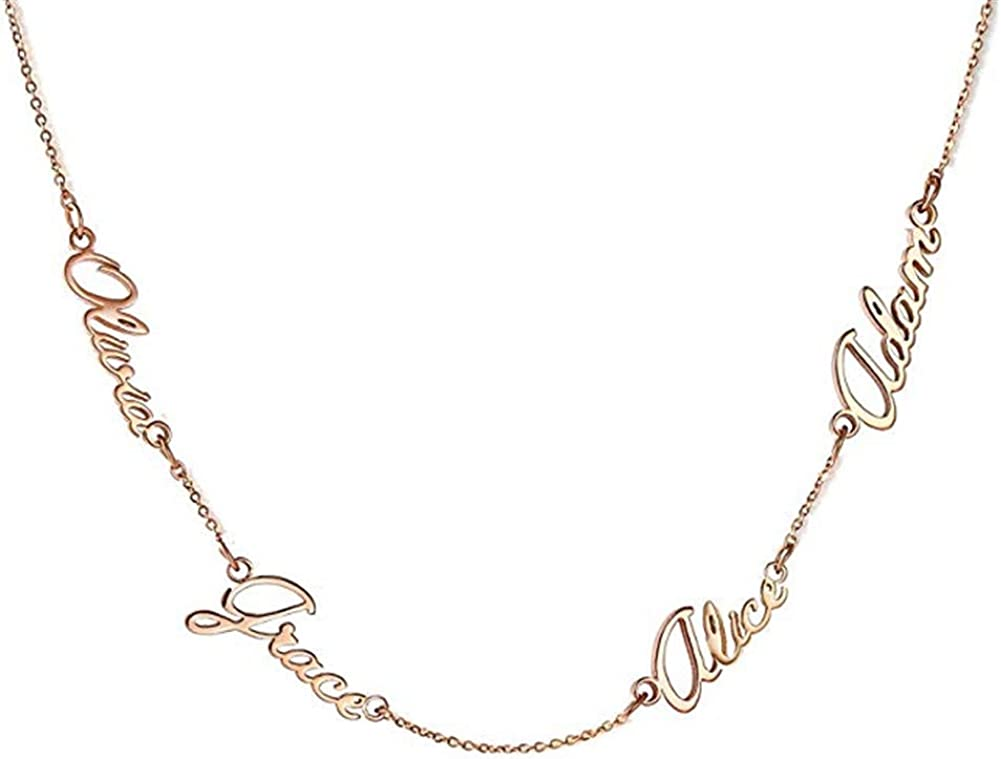 Elefezar Personalized 925 Sterling Silver Family Name Necklace Custom 4 Names for Women Men