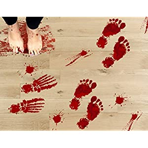 jollylife 42PCS Bloody Footprints Floor Clings – Halloween Vampire Zombie Party Decorations Decals Stickers Supplies