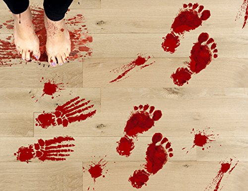 jollylife 63PCS Bloody Footprints Floor Clings - Halloween Vampire Zombie Party Decorations Decals Stickers -