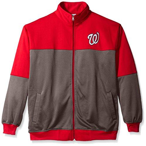 Profile Big & Tall MLB Washington Nationals Men's Poly Fleece Yoked Track Jacket with Wordmark Logo, 3X, Red/Gray