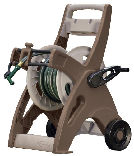 Suncast Hose Reel Cart - Suncast Hosemobile Garden Hose Reel Cart - Lightweight Portable Garden Cart with Storage Tray for Gardening Accessories - 175' Hose Capacity - Bronze and Taupe