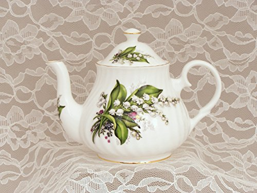 """LILY OF THE VALLEY"" Small 2 Cup Teapot - Fine English Bone China"