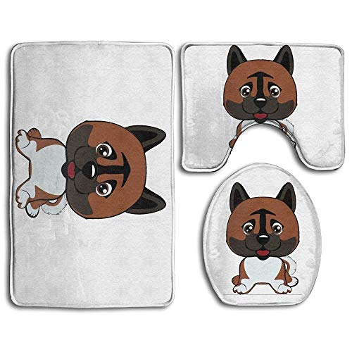 - zhurunshangmaoGYS Decorative Bathroom Rug Set with Dog American Akita Breed Laughs Contour Mat Toilet Seat Cover 3 Pieces, Non-Slip Bathroom Shower Mat Dog American Akita Breed Laughs