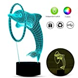 3D Optical Dolphin Lamp 7 Colors Changing Nightlight with Smart Touch Button & USB Charging Soft Light Safe for Kids in Bedroom Adjustable Brightness Decorative Lights as Gifts