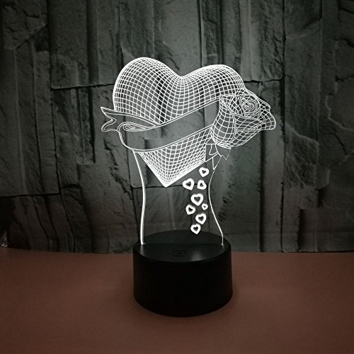 Visual Illusion Lamp LED Lamp Decor Light Rose Stand for Love Best Gift for Valentines's Day (Loving Heart)