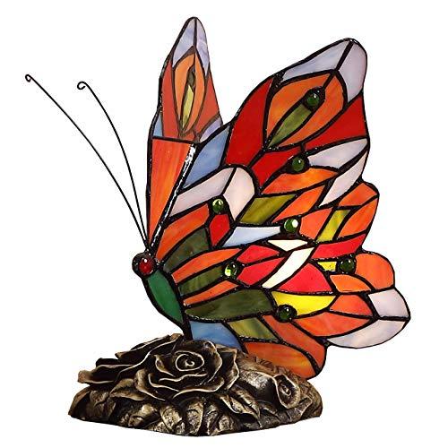 Bieye L30043 9 pulgada Mariposa Lámpara de mesa de acento del vitral del estilo de Tiffany