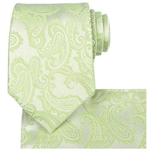 KissTies Extra Long Tie Lime Green Paisley Necktie + Gift Box(63'' XL)