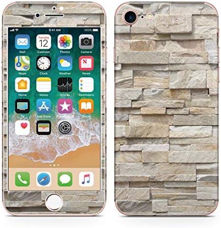 igsticker iPhone SE 2020 iPhone8 iPhone7 専用 スキンシール 全面スキンシール フル 背面 側面 正面 液晶 ステッカー 保護シール 008338 チェック・ボーダー レンガ 写真 石
