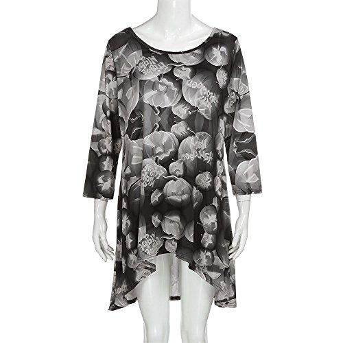 TWGONE Fashion Womens Halloween Pumpkin Long Sleeve O Neck Evening Party Dress Polyester Skirt(US-12/CN-XL,Gray ) -