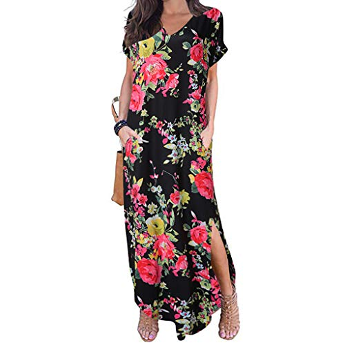 Women's Casual Dress Ladies Loose Pocket Long Dress