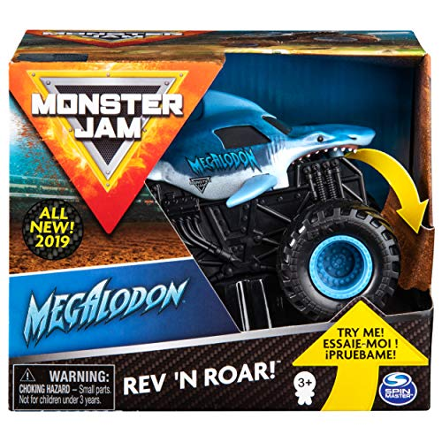 Monster Jam Official Megalodon Rev 'N Roar Monster Truck, 1:43 Scale
