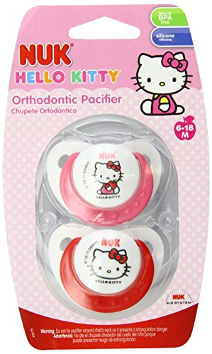 NUK Bonjour KittyOrthodontic Sucette silicone 6-18 Mos., 2-Comte