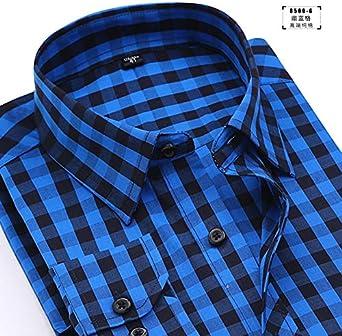 DishyKooker - Camisas de algodón para hombre, manga larga, cuello de solapa: Amazon.es: Ropa y accesorios