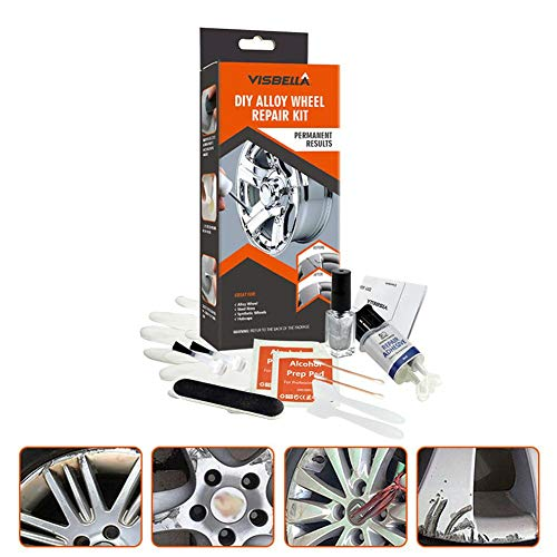 Universal Wheel Repair Adhesive Kit,5 Minutes Quick DIY Alloy Silver Paint Fix Tool Surface Damage for Car Auto Rim Dent Anti-Scratch Care Accessory