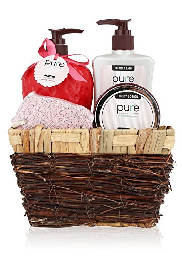 PURE Deluxe Spa Gift Basket in Wicker Basket, Strawberry. Natural Spa Basket with Bubble Bath, Shower Gel & Body Lotion Gift Set. Spa in a Basket, Best Holiday Gift for Women, Men, Teens, Friends.