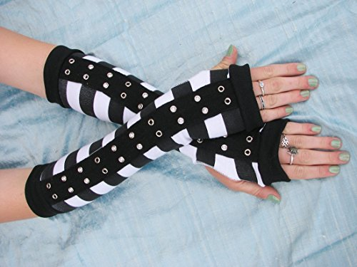 Prison Gang Arm Warmers Fingerless Gloves Cosplay Costume