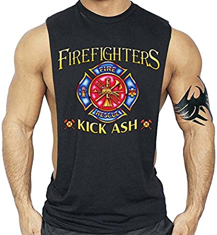 Firefighters Kick Ash T-Shirt Bodybuilding Tank Top Black XS-3XL (L, Black)