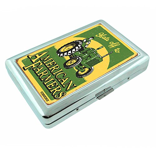 Metal Silver Cigarette Case Vintage Poster D-246 Hats Off To American Farmers