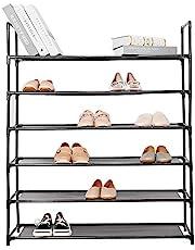 SortWise 6-Tier Shoe Rack, 30-Pair Shoes Storage Organizer, Stackable Entryway Shoes Shelf, Black