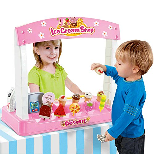 Liberty Imports Ice Cream Shop with Pretend Play Desserts, Treats, and Cash Register (36 Pcs) Pretend Play