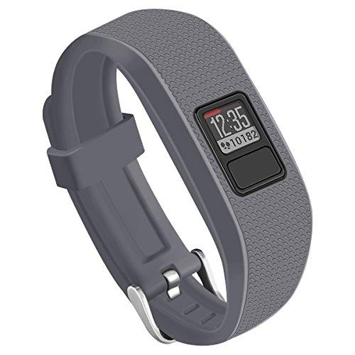 OenFoto Compatible Garmin Vivofit 3 Vivofit JR Bands with Metal Secure Watch Clasp, Silicone Replacement Bands for Garmin Vivofit 3 JR-Grey