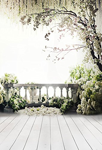 Kate 10x20ft/3x6m Digital Photography Backdrops Wood Floor White Flowers Background Natural Scenery For wedding Photo Studio Backdrop by Kate