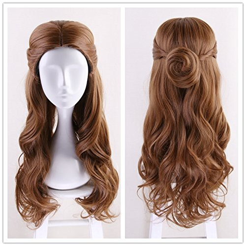 Ani·Lnc Long Wave Brown Movie Costumes Cosplay Wigs for Women (Make Beauty And The Beast Costumes)
