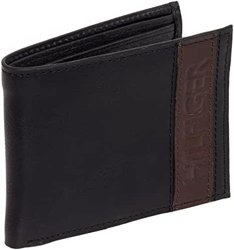 Tommy Hilfiger Men's Leather Stripe Bifold Billfold Wallet
