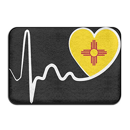 New Mexico Flag Heartbeat-1 Indoor Outdoor Entrance Rug Non Slip Bath Rugs Doormat Rugs Home by HONMAt-Non (Image #1)