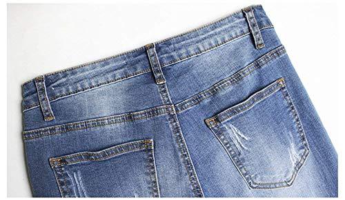 Casuales Mezclilla Cremallera Las Aire Bordado Con Jeans Bolsillos De Al Pantalones Libre Fit Blau Delanteros Mujeres Huixin Slim Rasgados Stretch T8RwEqxcgp