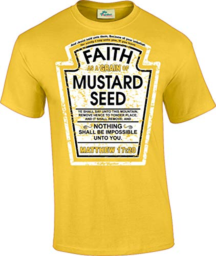 Hip Together Faith as a Grain of Mustard Seed Christian Parody T-Shirt (XL) (Yellow T-shirts Together)