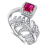 Merthus 925 Sterling Silver Created Ruby July Birthstone Feather Ring