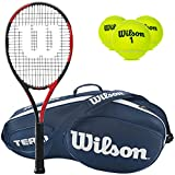 Wilson BLX Fierce Pre-Strung Extended Black/Red Tennis Racquet (4 1/4″ Grip) with a Blue Team III 3 Pack Tennis Bag and a Can of Tennis Balls (Perfect Intermediate Racket)