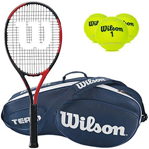 Wilson BLX Fierce Pre-Strung Extended Black/Red Tennis Racquet (4 1/4″ Grip) with a Blue Team III 3 Pack Tennis Bag and a Can of Tennis Balls (Perfect Intermediate Racket)