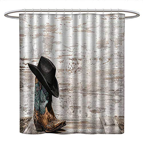(Anshesix Western Decorlong Shower curtainTraditional Rodeo Cowboy Hat and Cowgirl Boots in a Retro Grunge Background Art PhotoShower Curtain liningBrown Black)