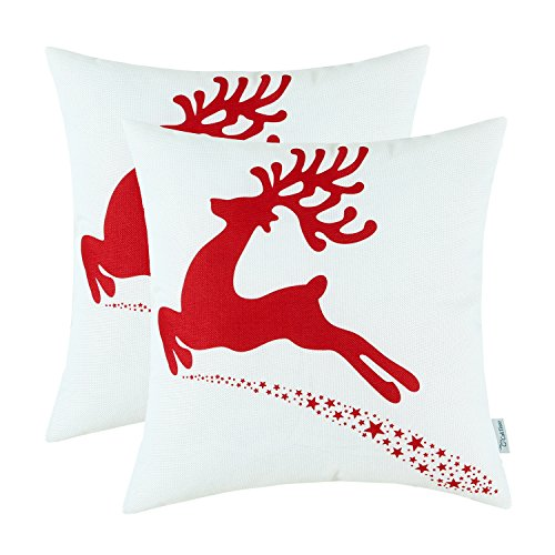 Pillow Toss Deer - CaliTime Pack of 2 Soft Canvas Throw Pillow Covers Cases for Couch Sofa Home Decoration Christmas Holiday Reindeer with Stars Print 18 X 18 Inches Christmas Red
