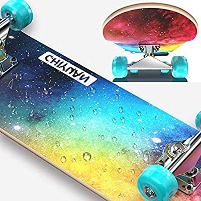 HYE-SPORT 31 Inch Professional Beginner Skateboard, Skateboard with Flash Wheels, 7 Layers of Maple Wood Planks, Double Kick Concave for Children and Teenagers Beginners: Home & Kitchen