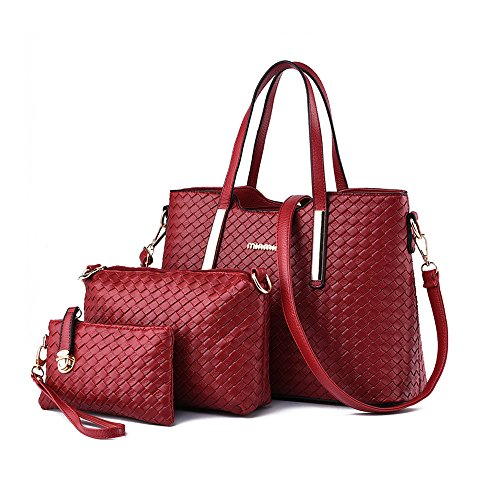 Totes 3 with Purse Women Handbags Leather Pieces for Black Red Wallet Ladies Shoulder Matching Set PU Bags 4c1vwfWFI