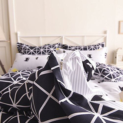 Bed Set Beddingset One Duvet Cover No Comforter One Flat Sheet Two Pillowcases 4pcs New Unicorn Superman Mask Design Queen Set Size 78x 90 for Kids Sheet Sets (Queen, Superman Mask, Black)