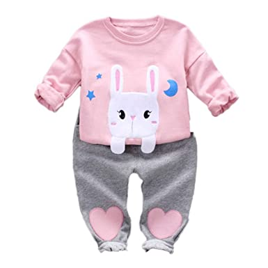 Camiseta de Manga Larga con Estampado de Conejo de ni/ña beb/é Sudadera con Capucha y Pantalones s/ólidos Conjunto de Ropa