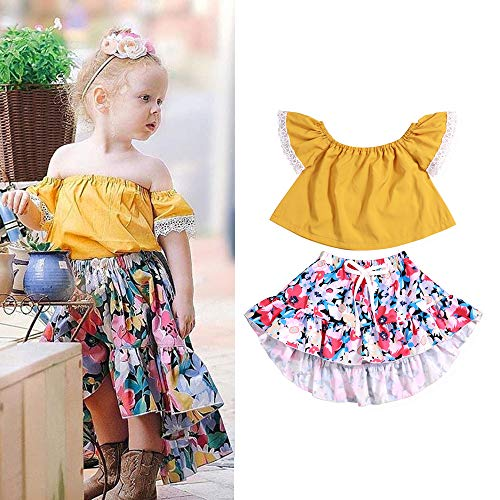 (Toddler Baby Girl 6 12 18 24 Months Clothes Yellow Lace Off Shoulder Short Sleeve Tops Floral Print Skirt Summer Outfit Set 2-3)