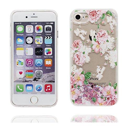 """iPhone 6 Plus Coque, Bling Glitter Coeur en forme iPhone 6s Plus étui Cover (5.5""""), Fluide Liquide Sparkles Sables-(Multiflora Rose), iPhone 6 Plus Case (5.5""""), Shell anti- chocs"""