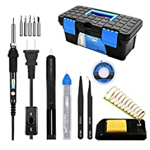 Tougs Soldering Iron Kit 60W Adjustable Temperature Controlled Welding Tool Set with Carry Box