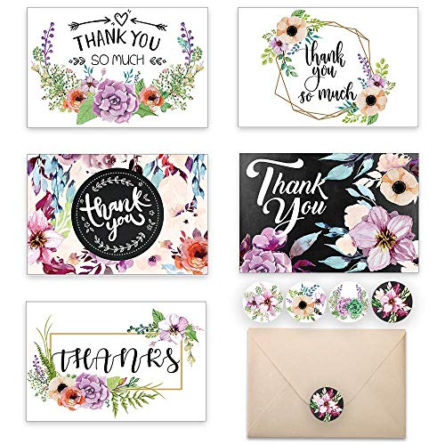 (DreamBulit Thank You Cards 48 pcs Floral Flower Greeting Cards Notes for Wedding, Baby Shower, Anniversary, 6 Design Blank Inside 4 x 6 inch- Luxurious Pearl Envelope and Stick seals Cards (Floral))