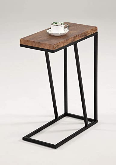 Vintage Industrial Top with Metal Frame Accent Side Chair Side Snack End Table